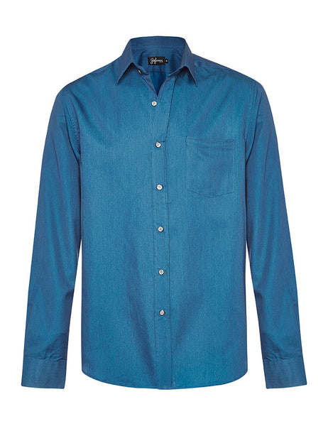 Blue Denim & Silk L/S Shirt