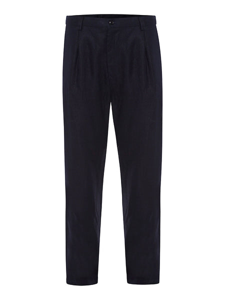 Navy Herringbone Linen Trousers