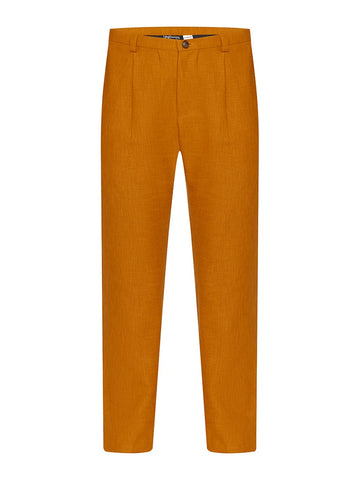 Ochre Non Crush Linen Trousers