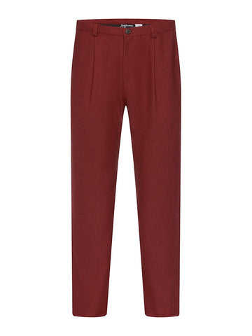 Ox Blood Non Crush Linen Trousers