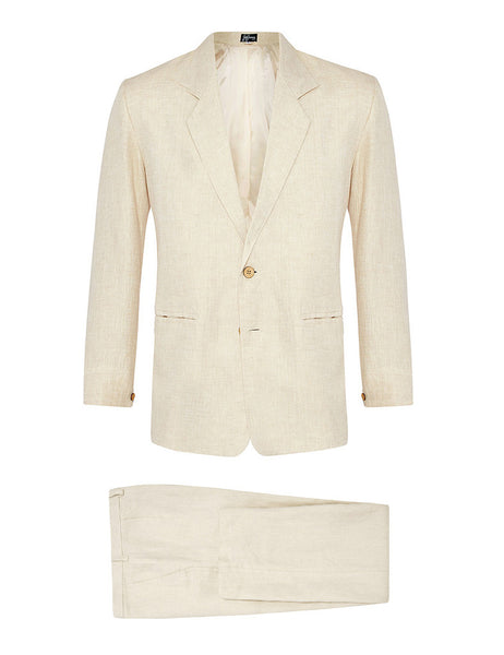 Cream Herringbone Linen Suit