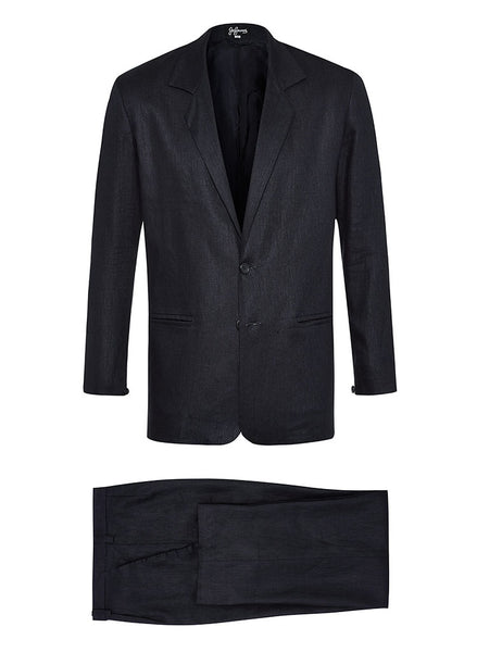 Navy Herringbone Linen Suit