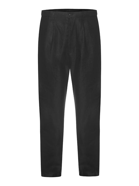 Black Twill Linen Trousers
