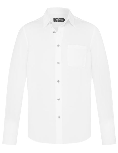 White Silk Crepe L/S Shirt