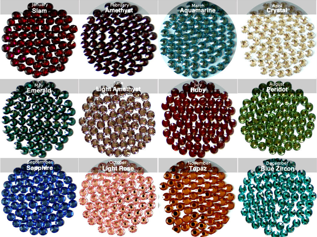 Birthstone Colours Swarovski Elements Crystals - From Jan to
