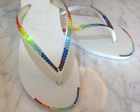 Swarovski Havaianas Flip Flops in Rainbow with Crystal Tip