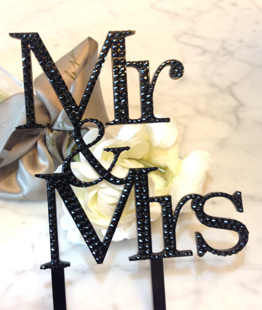 Swarovski Crystallized Mr & Mrs Wedding Cake Topper, Centerpiece Ornament, Decoration