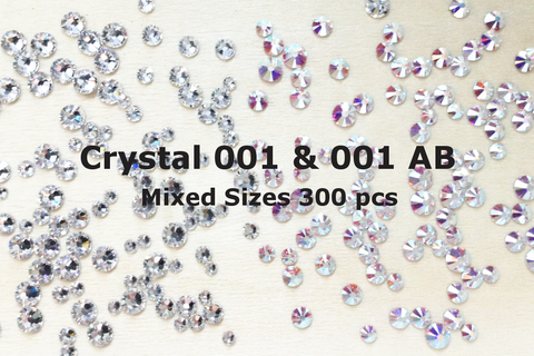 Mixed Sizes Crystal 001 & AB Colors - SuperPack (300pcs)