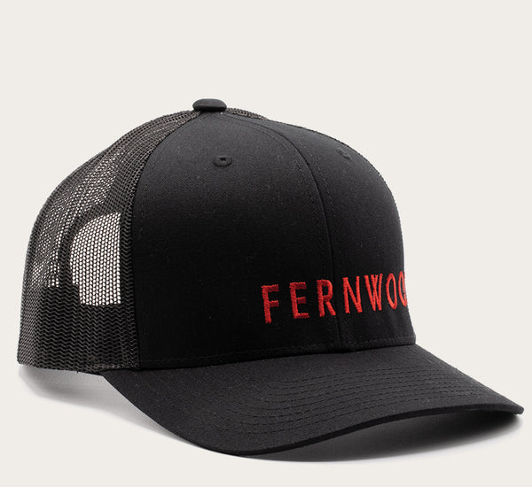 Fernwood Cap - Red on Black Mesh