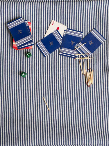 Colombe Blue Stripe Print Fabric and playing cards