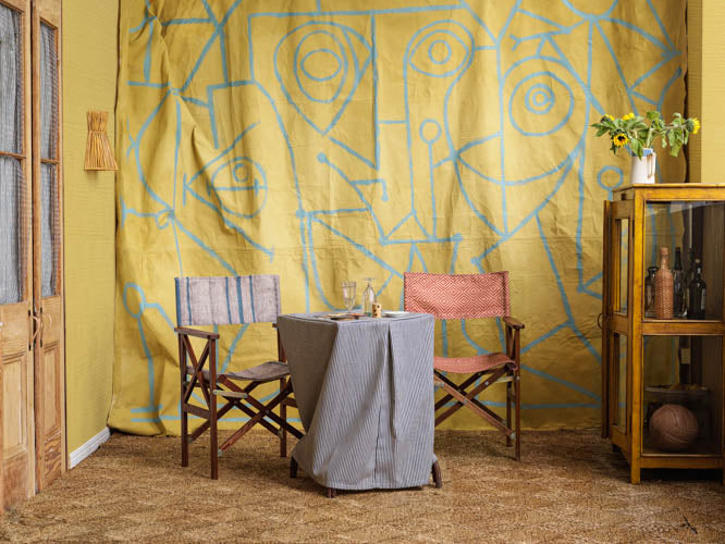 Seaworthy Textile Collection Mural with Deck Chairs and table