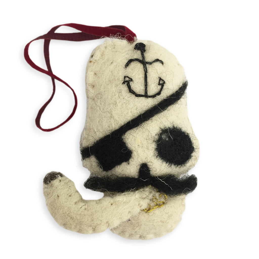 Eye Patch Skull Ornament