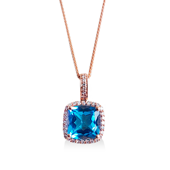 Collar de topacio azul con diamantes 14kt.