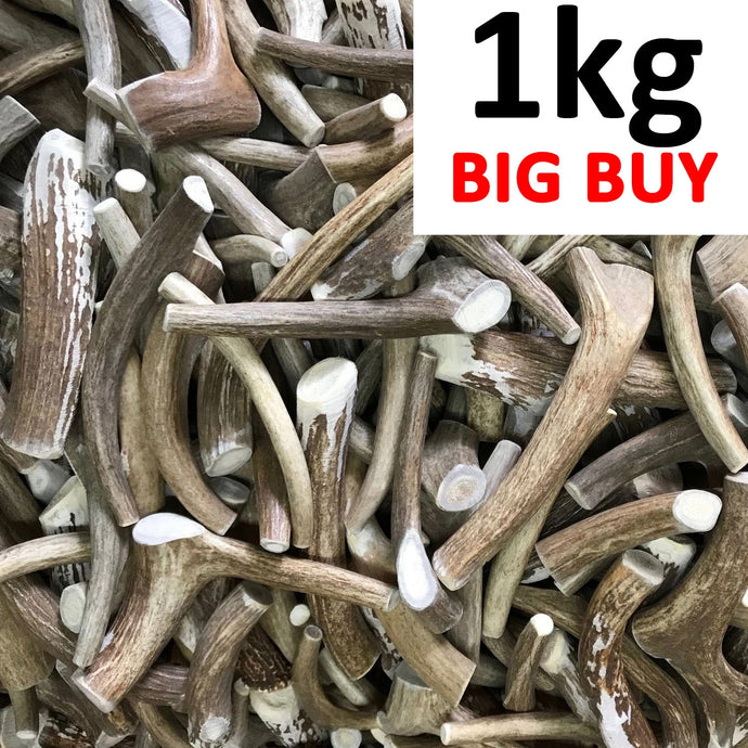 1kg Mixed Deer Antler Dog Chew Pieces - Ace Antlers