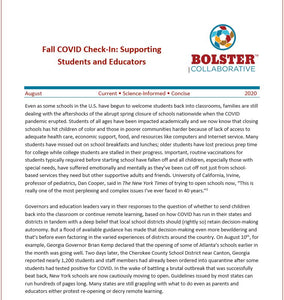 Fall COVID Check-In: Supporting Students and Educators (downloadable pdf.)