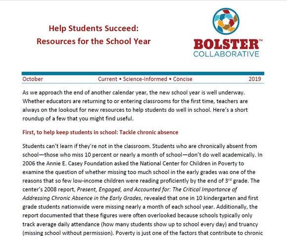 Practice Brief: Help Students Succeed: Resources for the School Year (downloadable PDF)