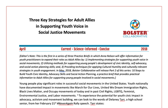 Practice Brief: Three Key Strategies for Adult Allies in Supporting Youth Voice in Social Justice Movements (downloadable PDF)