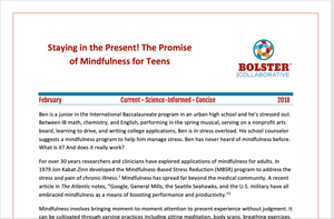 Practice Brief: Staying in the Present! The Promise of Mindfulness for Teens (downloadable PDF)
