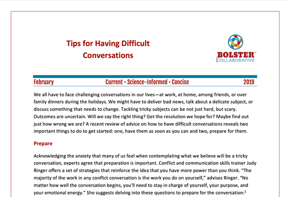 Practice Brief: Tips for Having Difficult Conversations (downloadable PDF)