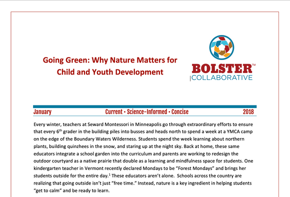 Practice Brief: Going Green: Why Nature Matters for Child and Youth Development (downloadable PDF)