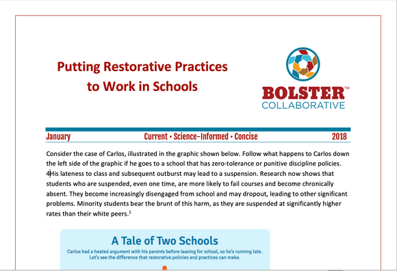 Practice Brief: Putting Restorative Practices to Work in Schools (downloadable PDF)