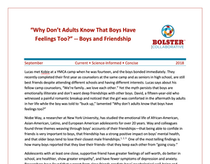 "Practice Brief: ""Why Don't Adults Know That Boys Have Feelings Too?"" -- Boys and Friendship (downloadable PDF)"
