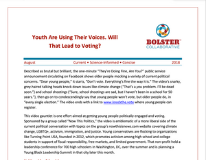 Practice Brief: Youth Are Using Their Voices. Will That Lead to Voting? (downloadable PDF)