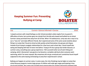 Practice Brief: Keeping Summer Fun: Preventing  Bullying at Camp (downloadable PDF)
