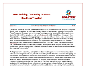 Practice Brief: Asset Building: Continuing to Pave a Road Less Traveled (downloadable PDF)