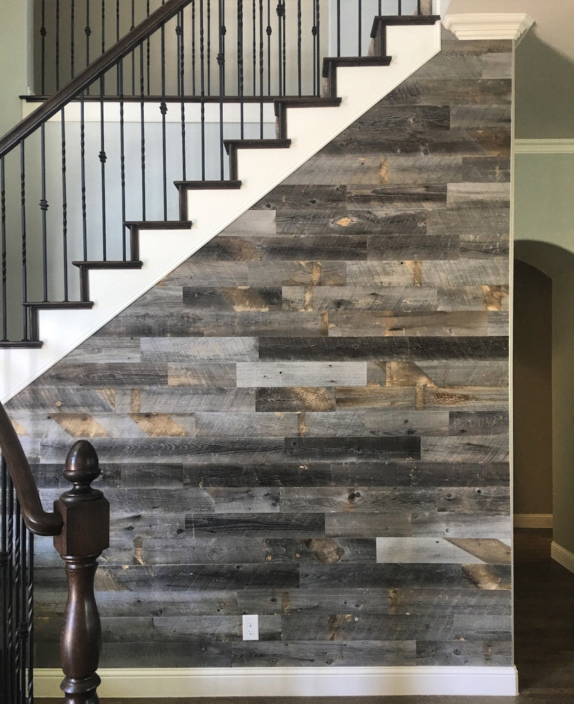 Staircase clad in Reclaimed Weathered Wood Stikwood
