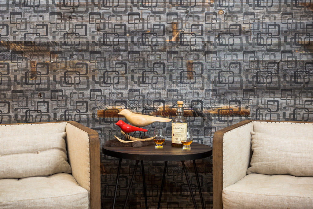 This Modsquad Plankprint wood wall material is anything but square!