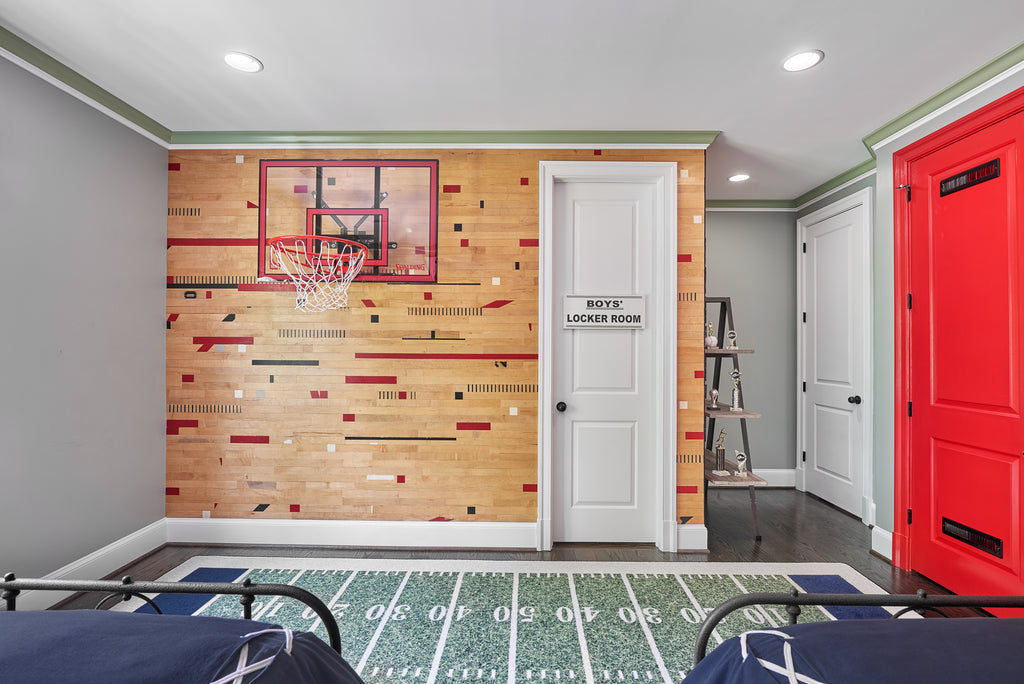 Stikwood weathered wood | wood plank wall covering | basketball wall