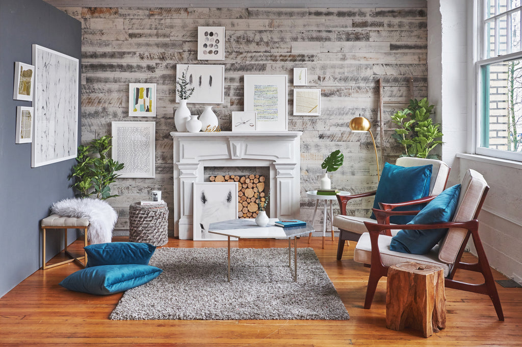 Stikwood Weathered Wall Boards_Gray Color_Modern Rustic Wood Wall Family Room Inspiration