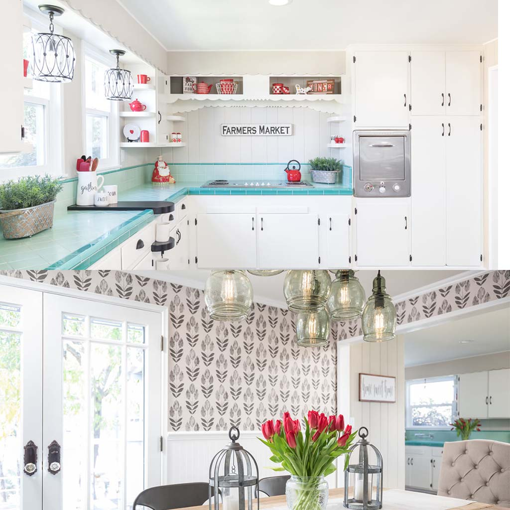 contemporary farmhouse kitchen with teal counters and dining room with bold wallpaper