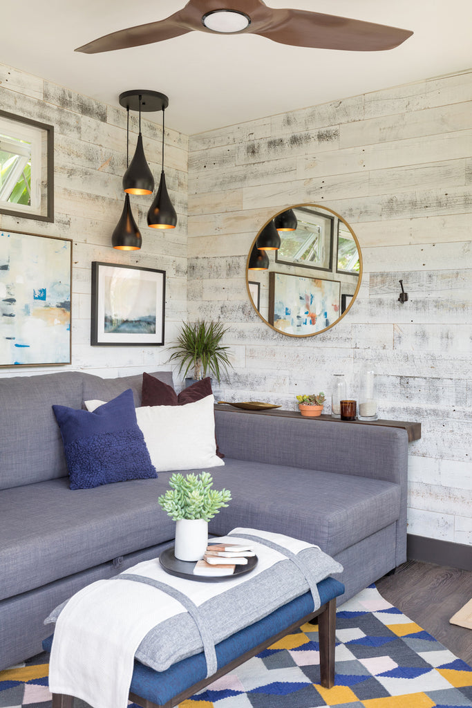 Accent wall in small canyon shed.
