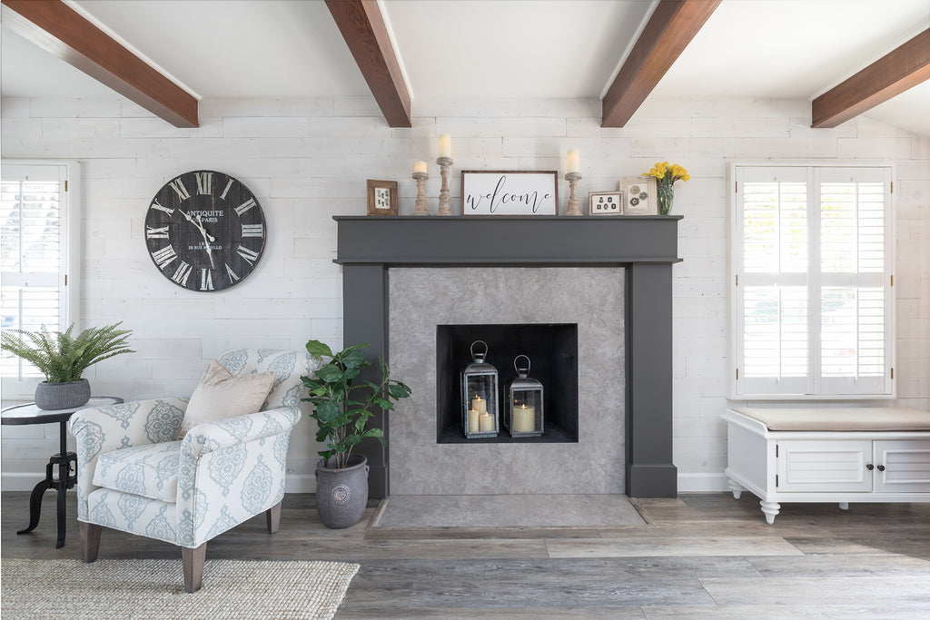 DIY shiplap wall on a modern farmhouse living room fireplace wall
