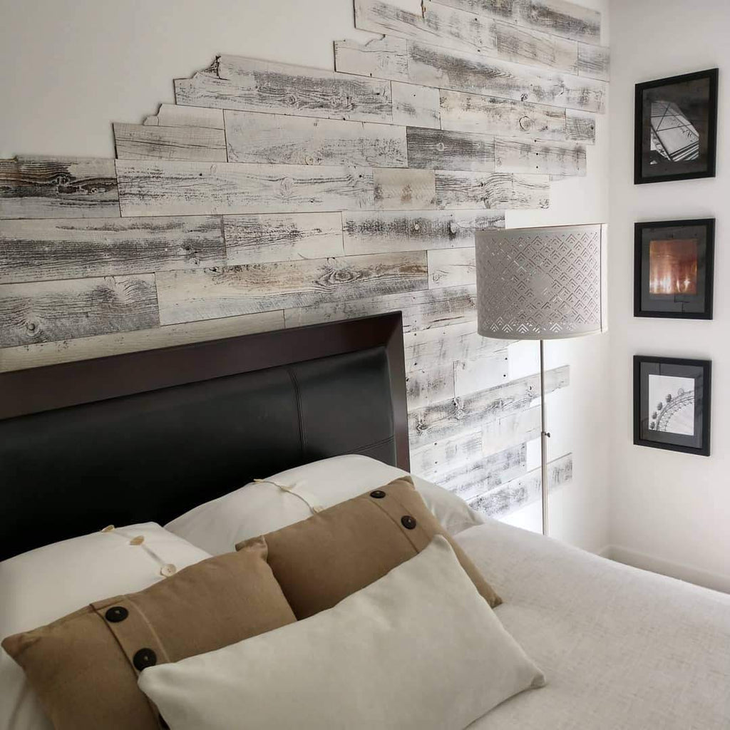 Stikwood design on a headboard wall using reclaimed weathered wood white