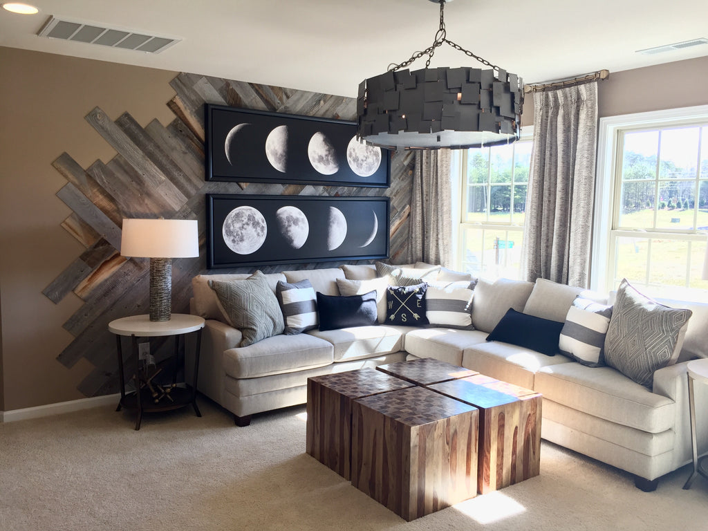 Reclaimed wood paneling by Stikwood has been done in an abstract design in this artsy but masculine family room.
