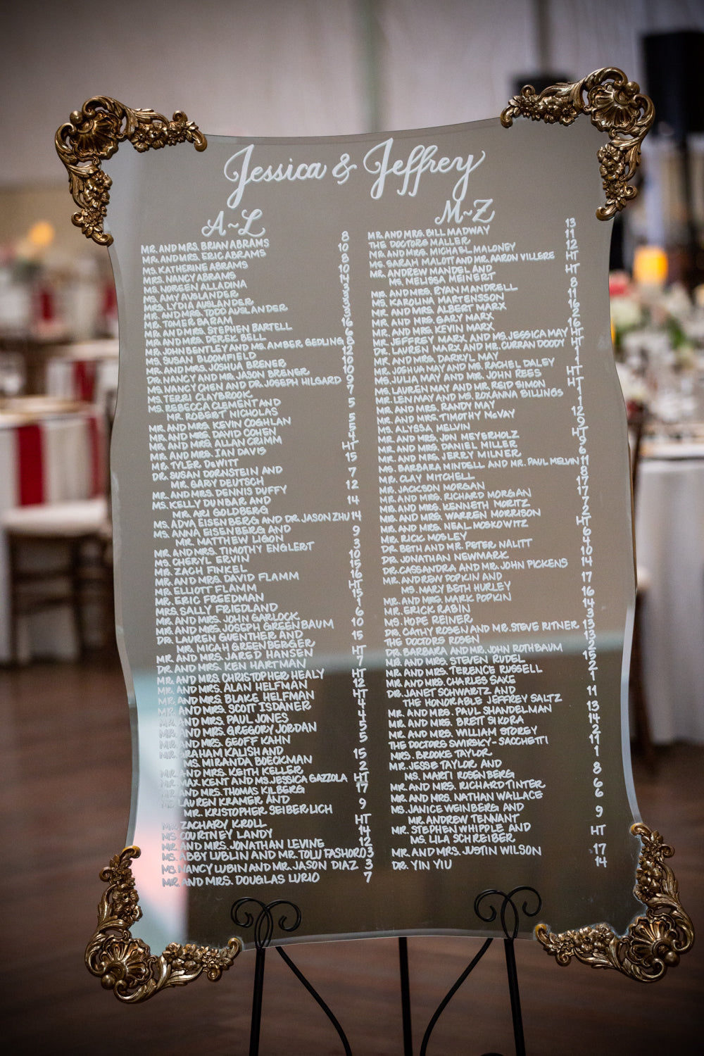 Seating Chart Mirror Rental: Gold Antique Scallop (Medium)