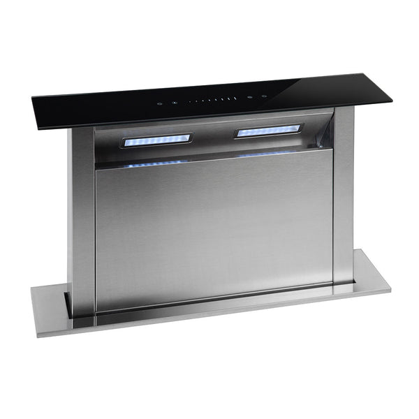 Montpellier DDCH60 Touch Control 60cm Wide Downdraft Extractor - Black Glass Stainless steel