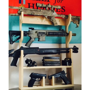 Horizontal 3 Gunrack with Pistol Holder
