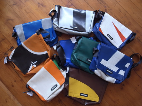 Sourced bags, recycled messenger bags