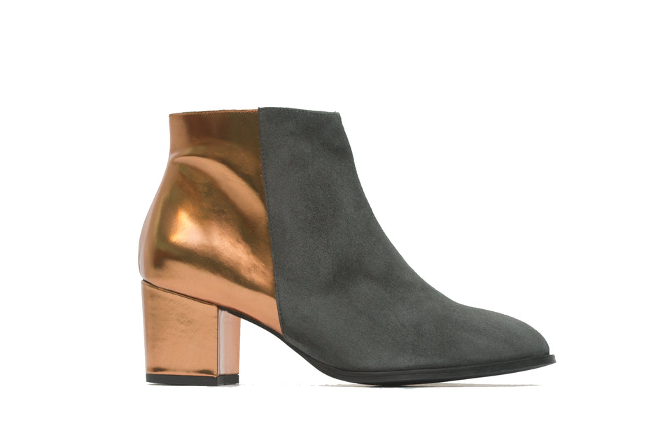 Ana Ankle Boot <b>Carbon Suede and Mirrored Bronze Leather</b>