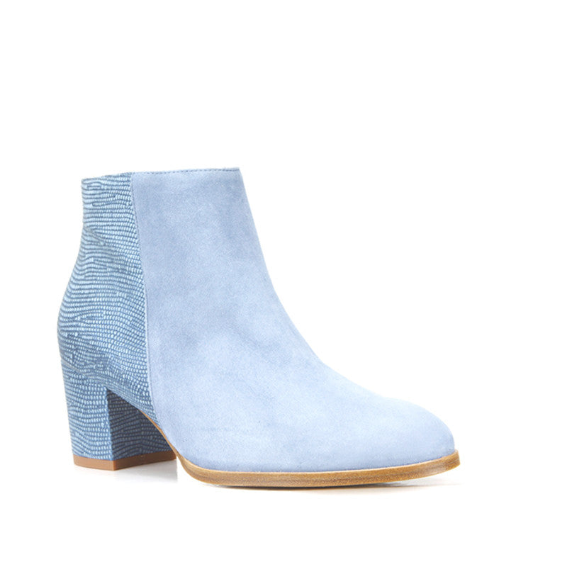 Ana Ankle Boot <b>Denim Suede and Blue Lizard Embossed Leather</b>