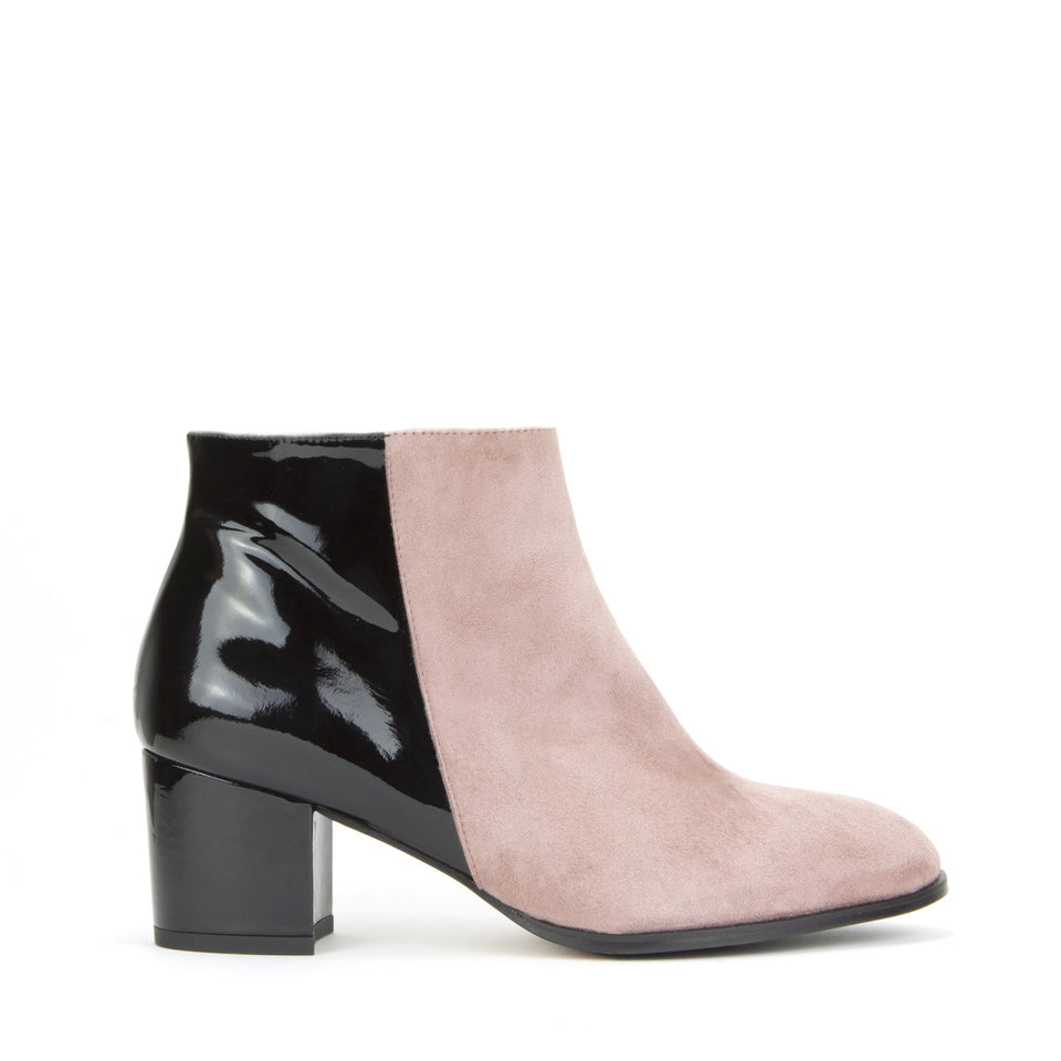 Ana Ankle Boot <b>Rosebud Suede and Black Patent</b>