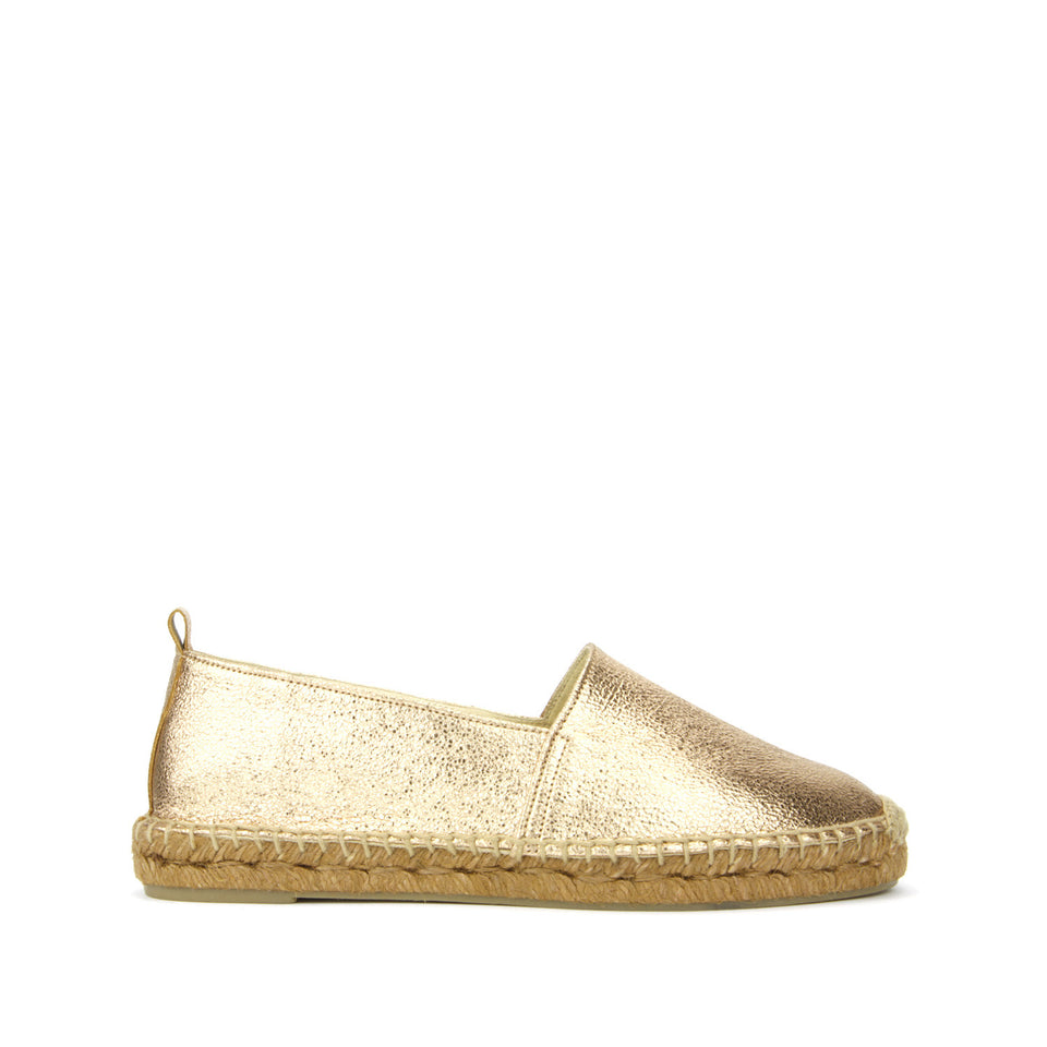 Habana Espadrille Cracked Leather Metallic Rose