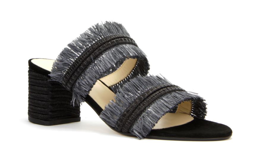 Iris Sandal in Black Raffia