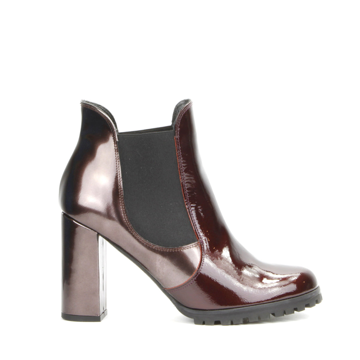 Carmen Ankle Boot <b>Metallic Burgundy Patent Leather and Florentik Testa di Moro</b>
