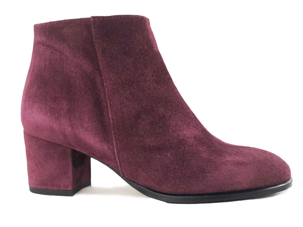 Ana Burgundy Suede Ankle Boots