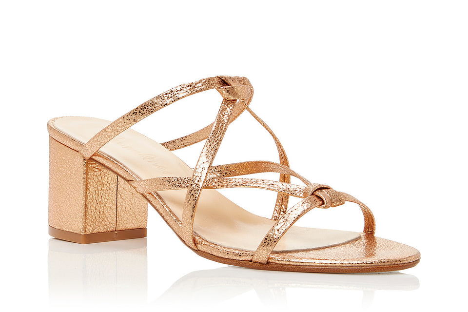 Ibiza Sandal in Metallic Rose Leather